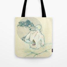 Boy and bird. Tote Bag