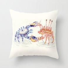 Crabby Fight Throw Pillow