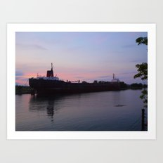 Ship at Dusk Art Print