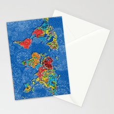 world map mandala blue Stationery Cards