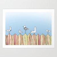 Fence Birdies Art Print