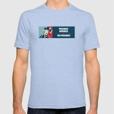 Business For President Mens Fitted Tee Tri-Blue SMALL