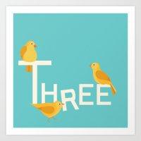 Three Songbirds Art Print