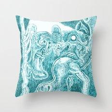 Creatures under Lamppost Throw Pillow