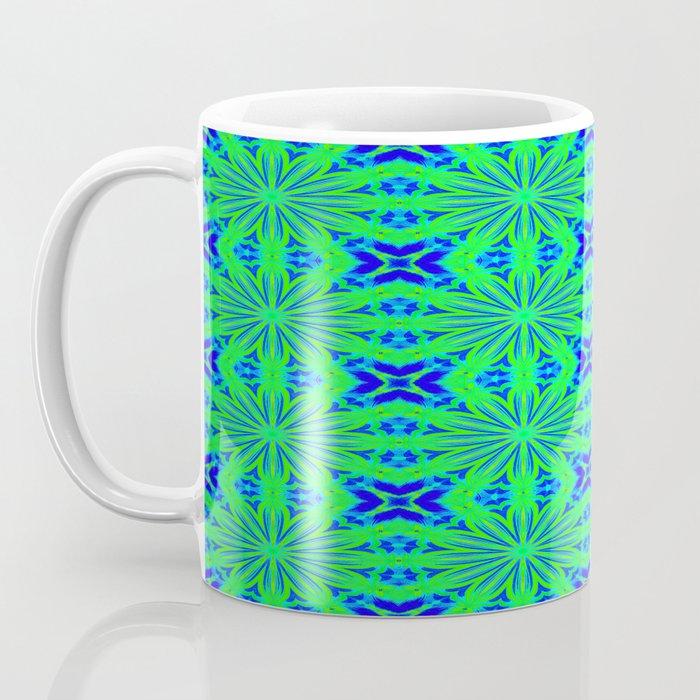 Blue green flower cross pattern mug by 2sweet4words for Blue mug designs