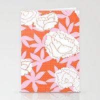Zen Floral _ pink& coral Stationery Cards