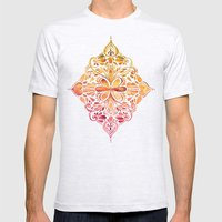 Sunset Art Nouveau Watercolor Doodle Mens Fitted Tee Ash Grey SMALL