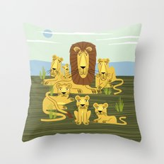 The Laid Back Lions Throw Pillow