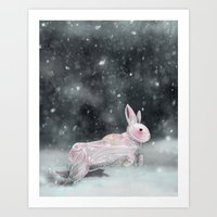 rabbit Art Prints featuring White Rabbit by Ben Geiger