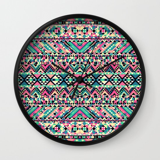Pink Turquoise Girly Aztec Andes Tribal Pattern Wall Clock