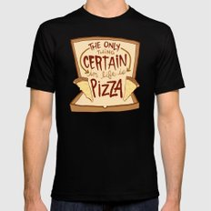 CERTAIN PIZZA SMALL Black Mens Fitted Tee