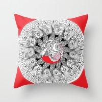 mermaid mandala Throw Pillow