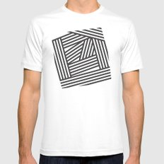 Black Stripes Mens Fitted Tee White SMALL