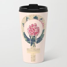 Respect, equality, women's liberation. Feminism Power Fist / Raised Fist Travel Mug