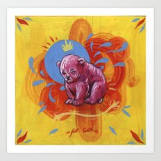 Pink Bear Cub on Hardboard Art Print