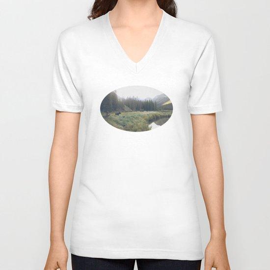 Morning Meadow Moose V-neck T-shirt