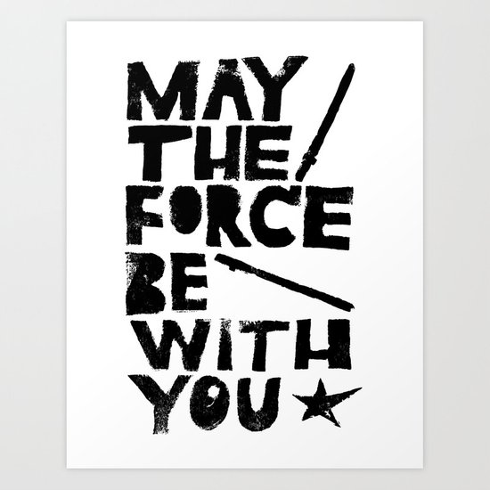 May The Force Be With You Linocut Star Wars Movie Poster