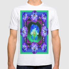 Purple Art Deco Pansies … Mens Fitted Tee Ash Grey SMALL