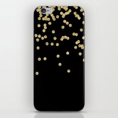 Sparkling golden glitter confetti on black iPhone & iPod Skin
