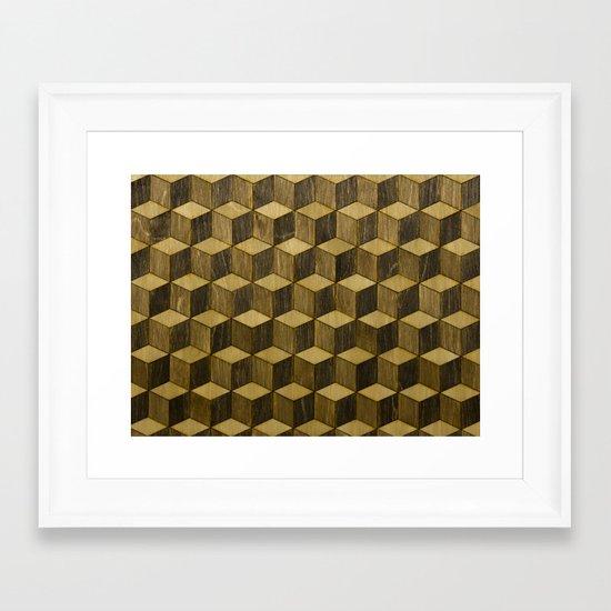 Optical wood cubes Framed Art Print