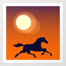 Racing Sunset Art Print