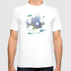 Zombie Fish SMALL White Mens Fitted Tee