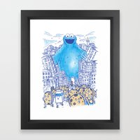 Monster in the city Framed Art Print