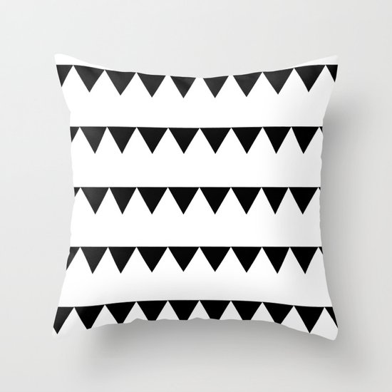 TRIANGLE BANNERS (Black) Throw Pillow