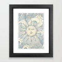 Sun sitting amongst the ocean Framed Art Print