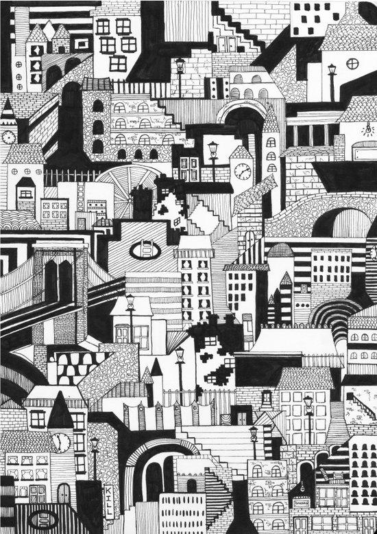 City and Shadow, Film Noir Art Print