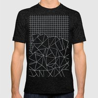 Abstract Outline Grid Gr… Mens Fitted Tee Tri-Black SMALL