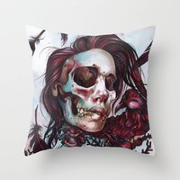 Queen Of Ravens Throw Pillow