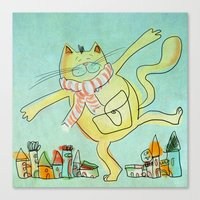 Dancing Cat in the City Canvas Print