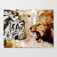 Lion Vs Tiger Canvas Print