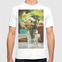 Flowers And Oranges Mens Fitted Tee White SMALL