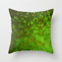 Big Green Bokeh Throw Pillow