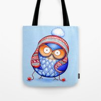 Winter Hat Owl Tote Bag