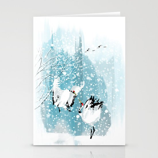 Dancing in the snow Stationery Card