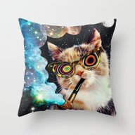 High Cat Throw Pillow