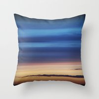 Blue Streaky Clouds Throw Pillow