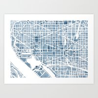Washington DC Blueprint watercolor map Art Print