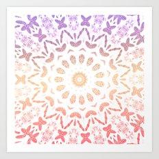 Ombre Mandala Purple Red Art Print