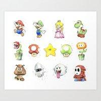 Mario Characters Watercolor  Art Print