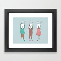 Three Wise Bunnes Framed Art Print