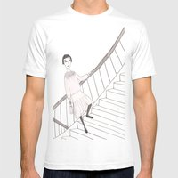 Girl On A Stair Mens Fitted Tee White SMALL
