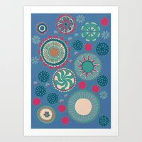Demin Blue and Flowers Art Print