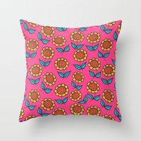 Floral mix pink sunflowers Throw Pillow