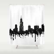Watercolor Chicago Skyli… Shower Curtain