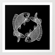 Black White Koi Art Print