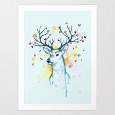 Butterfly Deer Art Print